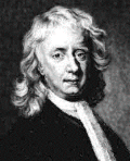 Newton in his casual wig.