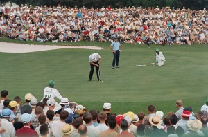 Nicklaus carefully babies a putt in on the way to a Masters win.