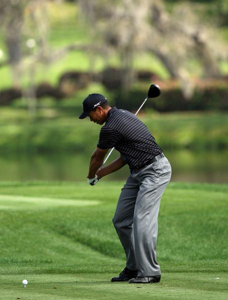 Tiger Woods a little more than half way into his down swing
