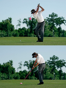 Bubba Watson goes long past parallel and has all the wrong angles but he manages to work himself into near perfect position at impact -- no easy feat.