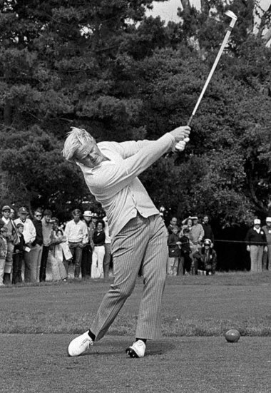 Nicklaus at No. 17, Pebble Beach, 1972 U.S. Open -- A lot of energy has just been released into a golf ball.