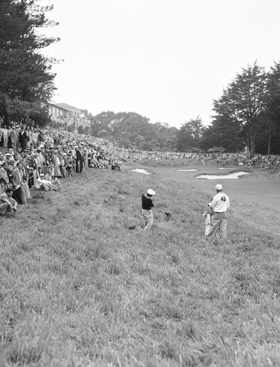Hogan hacks out of the rough on the 90th hole of the 1955 US Open at The Olympic Club