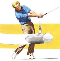 Notice in this picture how Nicklaus' right arm is fully extended AFTER the ball is on its way, and the right wrist has fully unhinged AFTER the ball is well on its well.