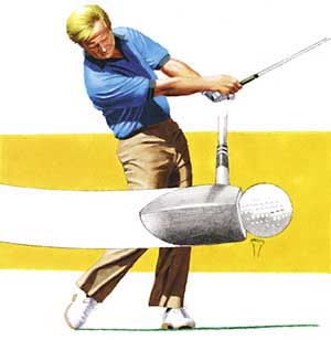Nicklaus ensuring flush contact by swinging with less than full power.